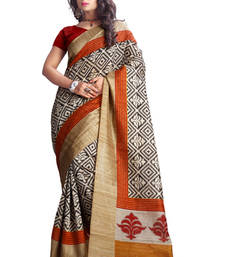 Buy Beige printed art_silk saree with blouse bhagalpuri-silk-saree online