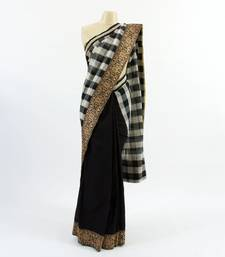 Buy Black & White Checkers banarasi-silk-saree online