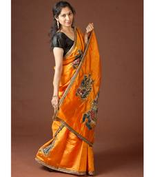 Buy Orange Radha Krishna Kalamkari kalamkari-saree online