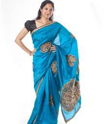 Buy Sapphire Blue Kalamkari kalamkari-saree online
