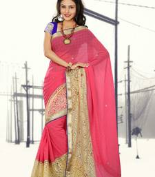 Buy Light Pink embroidered chiffon saree with blouse chiffon-saree online