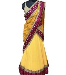 Buy Yellow and Gold Lehenga with Magenta silk Border lehenga-saree online