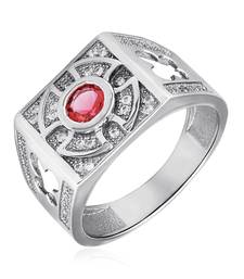 Buy Sterling Silver Vintage Red Ring with CZ stones for Men men-ring online