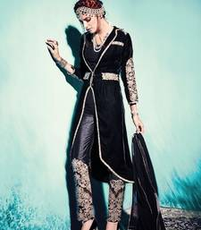 Buy Black embroidered velvet semi stitched salwar with dupatta party-wear-salwar-kameez online