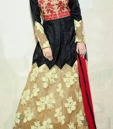 Buy Black and Beige embroidered georgette semi stitched salwar with dupatta party-wear-salwar-kameez online
