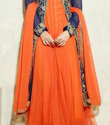 Buy Purple and Orange embroidered georgette semi stitched salwar with dupatta party-wear-salwar-kameez online
