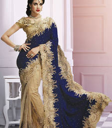 Buy Beige  and  Blue embroidered net saree with blouse party-wear-saree online