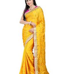 Buy Yellow printed satin saree with blouse satin-saree online