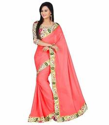 Buy Pink printed chiffon saree with Bhagalpuri blouse chiffon-saree online