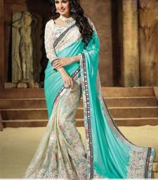Buy white embroidered chiffon saree with blouse net-saree online