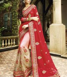 Buy red and pink embroidered net saree with blouse net-saree online