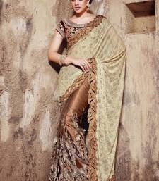 Buy brown and chiku embroidered net saree with blouse net-saree online