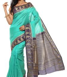 Buy Blue Plain Tussar Silk saree with blouse tussar-silk-saree online