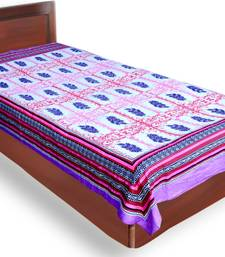 Buy Jaipuri Pink and Blue Geometrical Design with leaf Pattern Sanganeri Print Pure Cotton Single Bedsheet bed-sheet online