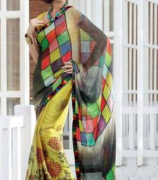Buy Yellow Color Faux Georgette and Shimmer Printed Saree with Blouse georgette-saree online