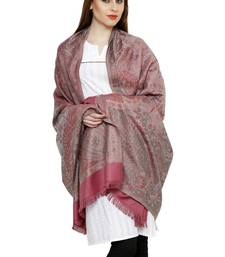 Buy Light pink reversible jamawar acrylic winter shawl with fringes shawl online