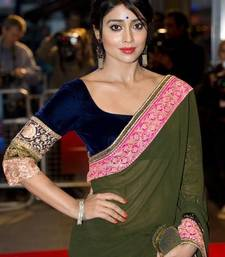 Buy Shriya Saran Bollywood Replica Moss Green Georgette Saree worn during Midnight Children Premiere abbg  velvet-saree online
