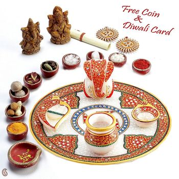 Buy kundans studded hand painted white marble aarti thali for Aarti thali decoration with rice