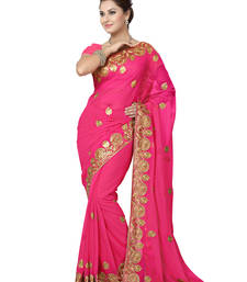Buy Pink embroidered chiffon saree with blouse party-wear-saree online