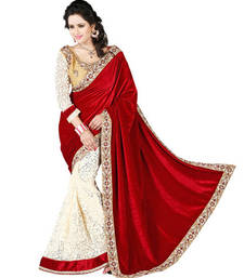 Buy Red and  Off White embroidered velvet saree with blouse velvet-saree online