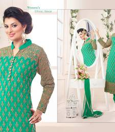 Buy Green net embroidered semi stitched salwar with dupatta hot-deal online