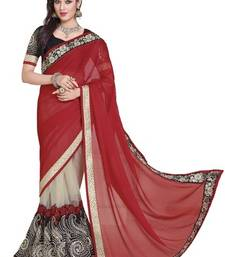 Buy Red and Beige embroidered chiffon saree with blouse net-saree online
