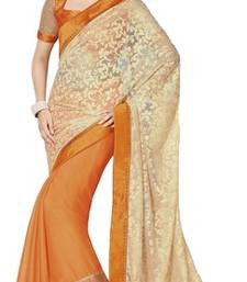 Buy Orange and Beige printed viscose saree with blouse brasso-saree online