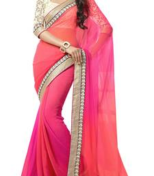 multicolor embroidered georgette saree with blouse shop online