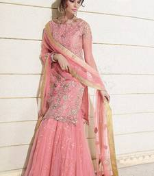 Buy Pink Net  and  Georgette embroidered semi stitched salwar with dupatta salwar-kameez-below-2000 online