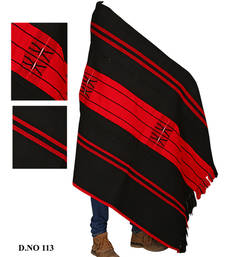 Buy Handwoven black with red weaving traditional naga shawl shawl online