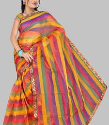 Buy Pavechas Banarasi Stripes Organza Sari DNO 443 cotton-saree online