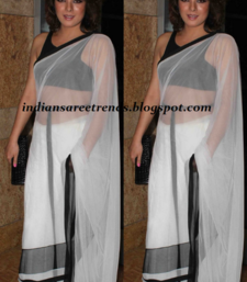 Buy White & Black saree georgette-saree online