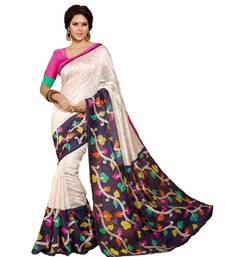 Buy CREAM printed art silk saree with blouse printed-saree online