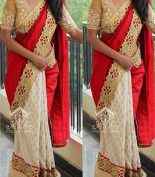 Buy Red and  White embroidered velvet saree with blouse velvet-saree online