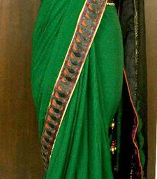 Buy Wheatgrass plums chiffon-saree online