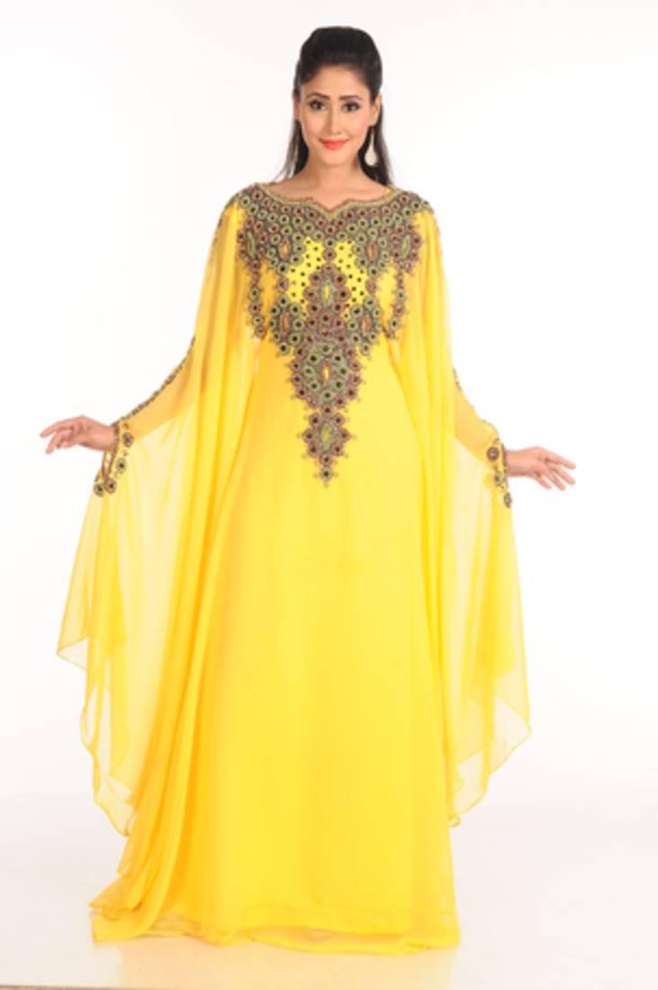 Buy Yellow Arabian Islamic Kaftan Online