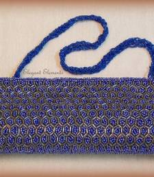 Buy Blue  fully studded beads work clutch purse Bag online