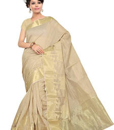 Buy Light Golden hand woven cotton saree with blouse cotton-saree online