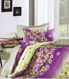 Buy Purple Floral Printed Luxury Flat Bedsheet, by Just Linen bed-sheet online