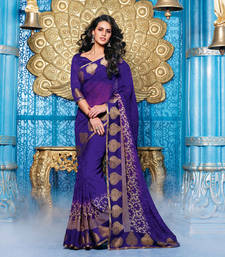 Buy Purple Printed Georgette saree with blouse printed-saree online