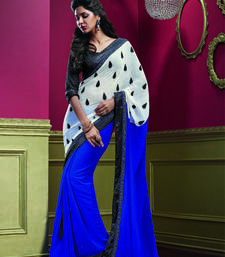 Buy Off White and Blue Embroidered Georgette saree with blouse heavy-work-saree online