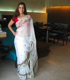 Buy Hand embroidered white sari chiffon-saree online
