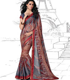 Buy Multicolor Printed Brasso saree with blouse printed-saree online