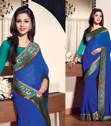 Buy Blue Patch Patti Work and Stone Work Fuex Chiffon saree with blouse heavy-work-saree online