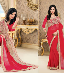 Buy Red Heavy Bordered Sarees Chiffon saree with blouse heavy-work-saree online