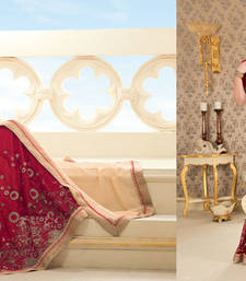 Buy Beige and Maroon Heavy Bordered Sarees Georgette and Net saree with blouse heavy-work-saree online