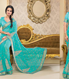 Buy Aqua Green Heavy Bordered Sarees Georgette saree with blouse heavy-work-saree online