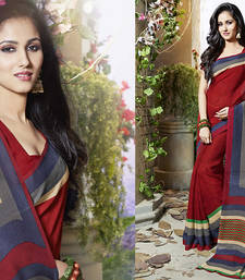 Buy Red Printed Art Silk saree with blouse printed-saree online