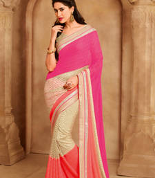 Buy Multicolor Heavy Embroidered  and  Bordered Saree Chiffon and Net saree with blouse heavy-work-saree online