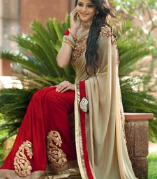 Buy red and cream embroidered georgette Saree with Blouse party-wear-saree online